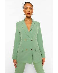 Boohoo Double Breasted Fitted Blazer - Green