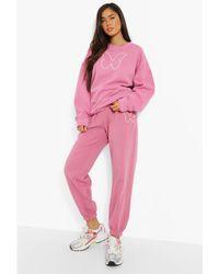 Boohoo Butterfly Print Sweatshirt And Jogger Set - Rosa