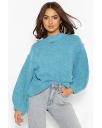 Boohoo Oversized Balloon Sleeve Jumper - Blue