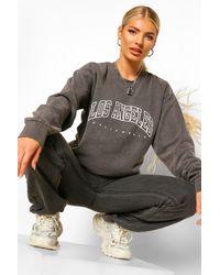 Boohoo La Slogan Extreme Oversized Washed Sweatshirt - Grey