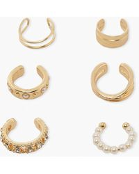 Boohoo Pearl And Stone Cuff 6 Multi Pack - Metálico