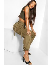 Boohoo Tall Cotton Twill Utility Pocket Combat Trousers - Multicolour