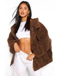 Boohoo Oversized Teddy Faux Fur Coat - Brown