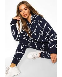 Boohoo Woman All Over Print Hooded Tracksuit - Blue
