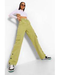 Boohoo Popper Hem Cargo Sweatpants - Green