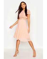 Boohoo Lace Top Chiffon Skater Dress - Pink