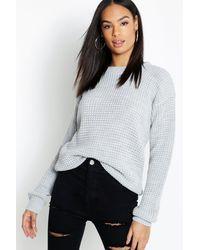 Boohoo Tall Waffle Knitted Jumper - Grey