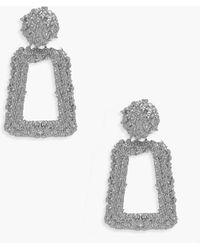 Boohoo Small Textured Statement Earrings - Grigio