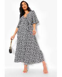 Boohoo Floral Print Wrap Maxi Dress - Black