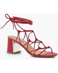 Boohoo - Erin Cage Tie Up Gladiator Sandals - Lyst