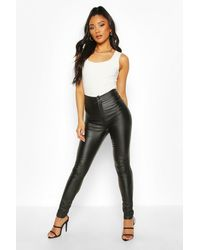 Boohoo High Waist Matte Leather Look Skinny Trouser - Black