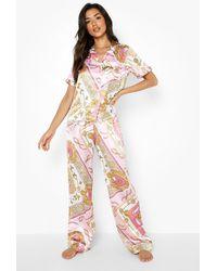 Boohoo Pantalón De Pijama Intercambiable Con Estampado De Cadena - Rosa