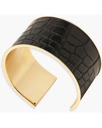 Boohoo Croc Pu Cuff Bracelet - Black