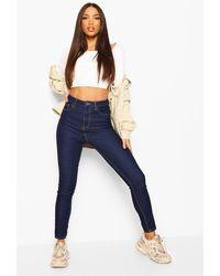 Boohoo Tall High Waisted Skinny Jeans - Blue