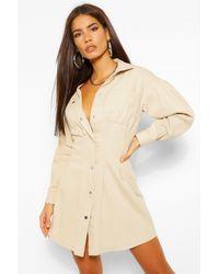 Boohoo Womens Pleat Detail Button Down Shirt Dress - Natur