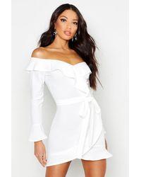 Boohoo - Womens Off The Shoulder Ruffle Tie Waist Skater Dress - White - 4 - Lyst