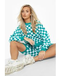 Boohoo Colour Block Knitted Shorts Set - Green