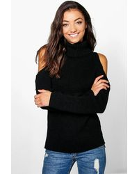 Boohoo Womens Tall High Neck Cold Shoulder Sweater - Black