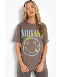 Boohoo Nirvana License Print Oversized T-shirt - Gray