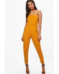 Boohoo Bandeau Tailored Woven Slim Fit Jumpsuit - Yellow