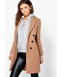 Boohoo Petite Fatih Double Breasted Camel Duster Coat - Natural
