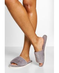 Boohoo Fluffy Slider Slipper - Gray