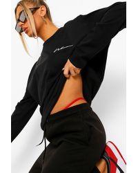 Boohoo Woman Long Sleeve Oversized T-shirt - Black