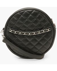 Boohoo Quilted Round Cross Body Bag & Chain - Black