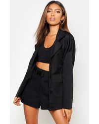 Boohoo Womens Double Pocket Belted Jacket - Black - 4