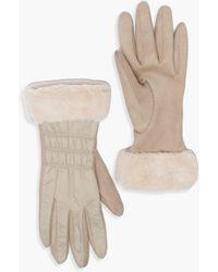 Boohoo Padded Faux Fur Trim Gloves - Natural