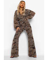 Boohoo Leopard Print Chiffon Wrap Wide Leg Jumpsuit - Brown