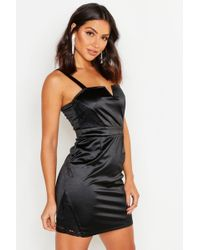Boohoo Womens Square Neck Lace Trim Stretch Satin Mini Dress - Black - 2