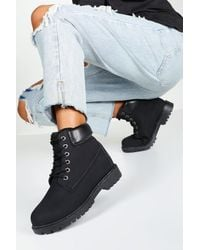 Boohoo Padded Cuff Lace Up Combat Boots - Black