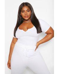 Boohoo Plus body con maniche ad aletta - Bianco