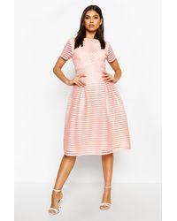 Boohoo Boutique Full Skirted Prom Midi Dress - Pink