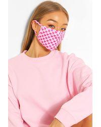 Boohoo Mascherina alla moda per il viso a cuoricini - Rosa
