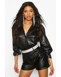Boohoo Womens PU Matte Leather Look Volume Shirt - Schwarz