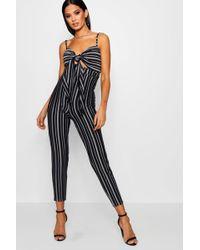 Boohoo - Striped Tie Front Skinny Leg Jumpsuit - Lyst