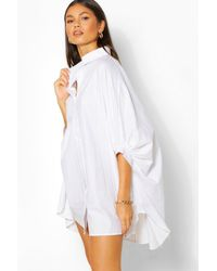 Boohoo Vestido Camisa Oversize Con Manga De Murciélago - Blanco
