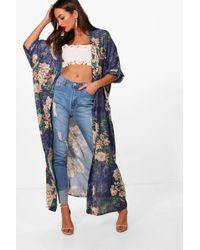 Boohoo Womens Oriental Floral Print Maxi Kimono - Blue - S/m