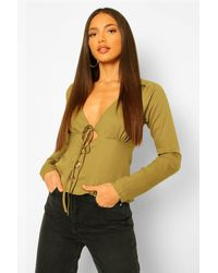 Boohoo Tall Woven Ruched Bust Tie Front Blouse - Vert