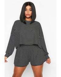 Boohoo - Plus Stripe Oversize T-shirt + Short Rib Two-piece - Lyst