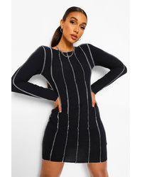 Boohoo Tall Overlock Stitch Detail Bodycon Dress - Nero