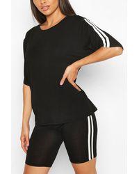 Boohoo Soft Side Stripe Shorts Lounge Set - Black