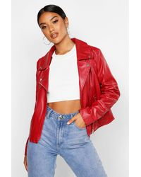Boohoo Faux Leather Zip Moto Jacket - Red