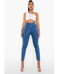 Boohoo High Waist Frayed Hem Skinny Jeans - Blue