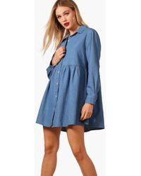 077574db3e6 Boohoo Kandy Pearl Trim Open Shoulder Denim Shirt Dress in Blue - Lyst