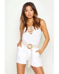 Boohoo Lace Up Plunge Woven Cami - White