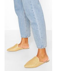 Boohoo Wide Width Raffia Pointed Toe Mules - Natural