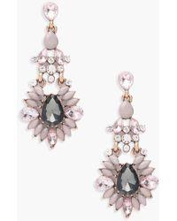 Boohoo - Liza Statement Diamante Gem Earrings - Lyst